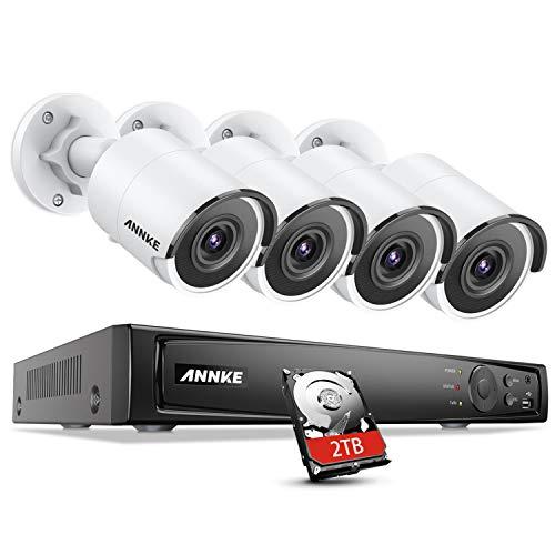 ANNKE H800 Bullet 8MP Ultra HD PoE Sistema Cámaras de Vigilancia Red 8CH 4K NVR con 2TB Disco Duro Instalado y 4 Cámaras de Videovigilancia Visión Nocturna EXIR 2.0 Acceso Remoto APP Alerta- 2TB HDD
