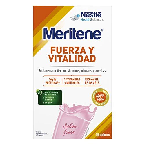 Meritene® FUERZA Y VITALIDAD - Suplementa tu nutrición y mantén tu sistema inmune con vitaminas, minerales y proteínas - Batido de Fresa - Estuche (15 sobres de 30g)