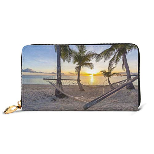 Women's Long Leather Card Holder Purse Zipper Buckle Elegant Clutch Wallet, Paradise Beach with Hammock and Coconut Palm Trees Horizon Coast Vacation Scenery,Sleek and Slim Travel Purse
