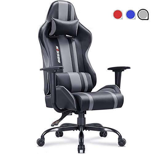Gaming Chair Racing Style Office Chair Adjustable Height Chair Ergonomics High-Back Chair PU Leather Gaming Chair Swivel PC Computer Chair with Headrest and Lumbar Support(Grey) Chairs Dining Features Game Kitchen Video