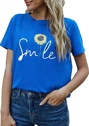 herdress Damen Tops Langarm T-Shirts Rundhalsausdruck Sweatshirt Classic Elegant Streetwear Blau M