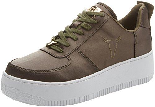 Windsor Smith Racerr Satin, Sneaker Donna, Verde (Military), 36 EU