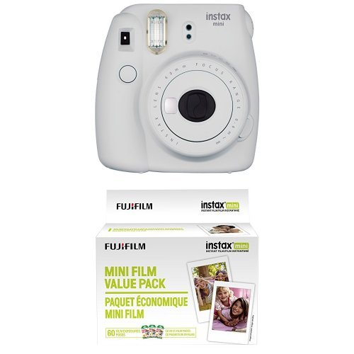 Fujifilm Instax Mini 9 Instant Camera - Smokey White with Value Pack - 60 Images