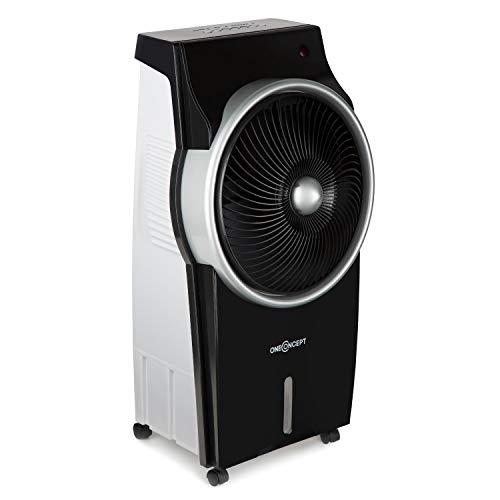 OneConcept Kingcool - Rafraîchisseur d'air 4 en 1, Refroidisseur d'air, Ventilateur, humidificateur, purificateur d'air, ionisateur, réservoir: 8 L, 2340 m³/h, 95 W, Oscillation, Mobile, Noir