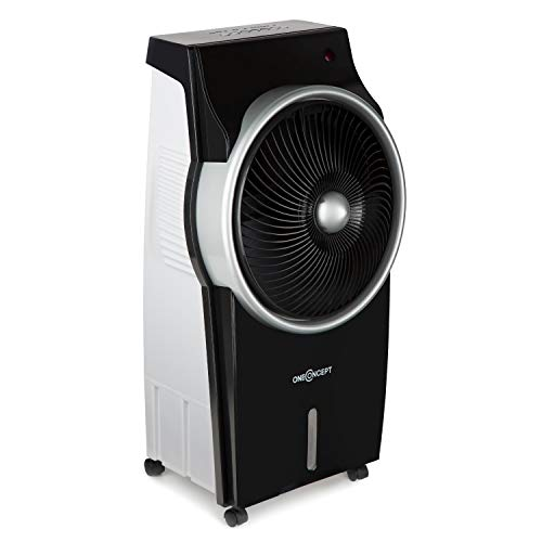 Oneconcept Kingcool Black Edition - Climatizador evaporativo, Enfriador de Aire, 95 vatios, Ionizador, Filtro Polvo, 3 etapas de Potencia, Ventilador oscilante, Tanque 8 litros, Control Remoto, Negro