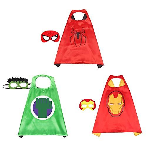 Capas de Ninos,Capa y Máscaras de Superhéroe 3 Piezas Capas 3 Piezas Máscaras de Cosplay de Niños y Niñas para Halloween Carnaval Fiesta de Baile Cumpleaños