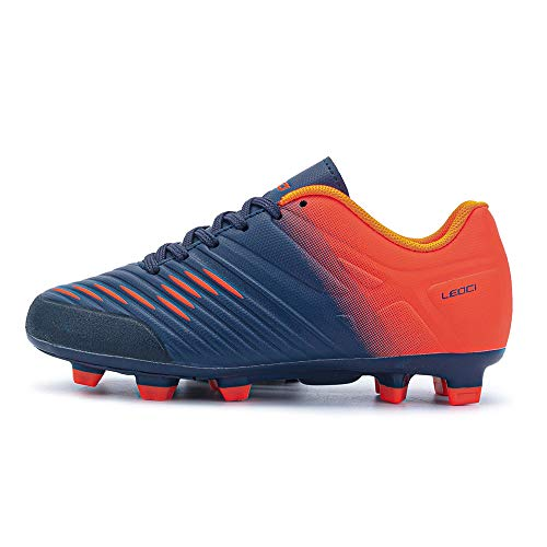 LEOCI Soccer Shoe - Boy and Kids' and Toddler Outdoor Coomfortable Soccer Cleat (Navy&Orange, Numeric_2_Point_5)