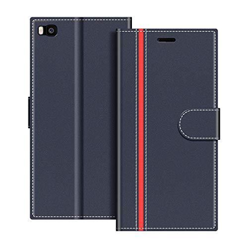 COODIO Handyhülle für Huawei P8 Handy Hülle, Huawei P8 Hülle Leder Handytasche für Huawei P8 Klapphülle Tasche, Dunkel Blau/Rot