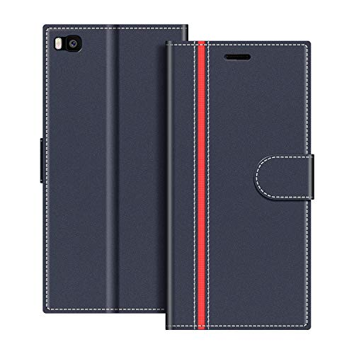 COODIO Funda Huawei P8 con Tapa, Funda Movil Huawei P8, Funda Libro Huawei P8 Carcasa Magnético Funda para Huawei P8, Azul Oscuro/Rojo