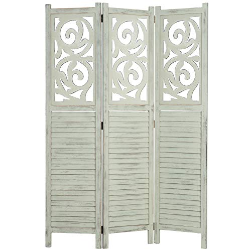MyGift 3-Panel Rustic Light Green Carved Wood Folding Room Divider