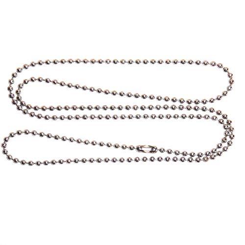 Ruluti Collares De Cadena De Bola De Acero Inoxidable De 10 a 30'Pulgadas - 2.4mm - Collares De Etiqueta De Perro Militar