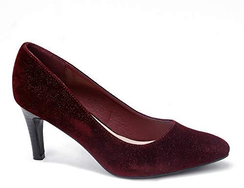 Greatonu Women Burgundy Dress Pumps Pointed Toe Mid High Velvet Party Heel Pumps Size US 7.5