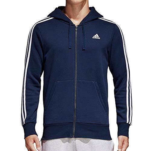 adidas Essentials 3 Stripes Full-Zip Fleece, Felpa con Cappuccio Uomo, Blu Navy/Bianco, M
