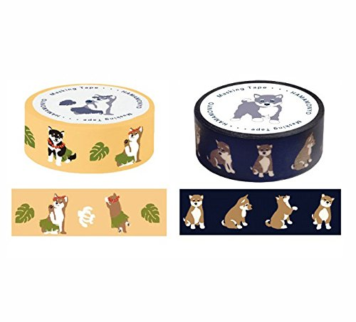 hamamonyo Shiba Inu Dekoratives Washi-Tape Set von 2 Rollen (Japan Import)