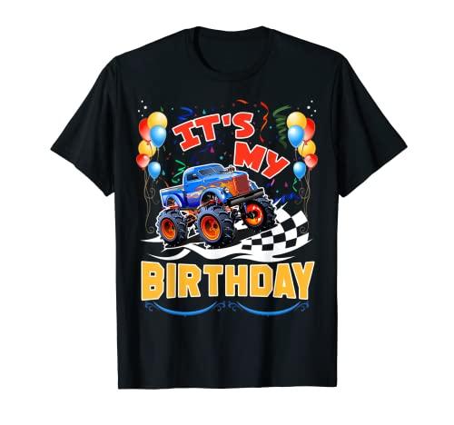 It Is My Birthday Boy Monster Truck Car Party Day Niños lindo Camiseta