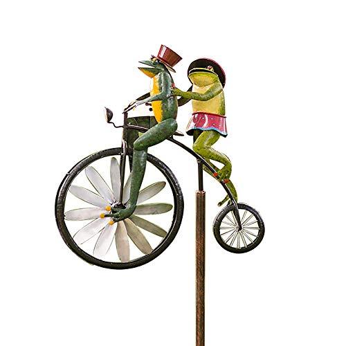 H.eternal(TM) Molino de viento de bicicleta divertido Ciclismo Animales Metal Jardín Pila Decoración Vintage Bike Wind Spinner para jardín al aire libre Patio (rana)