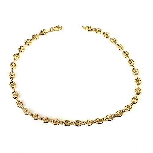 14K Yellow Gold Mariner Chain Anklet Bracelet