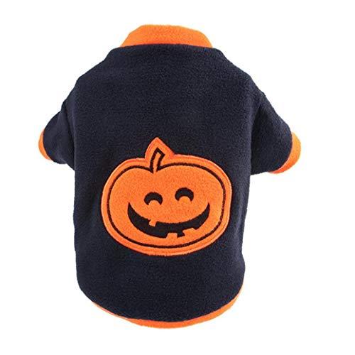 shentaotao Hund Katze Halloween Kostüme Kürbis Funny Pet Cosplay Kleid-welpen-vlies-Mantel-Kleidung Herbst-Winter-Warmer Overall Outfit Kleid S Größe