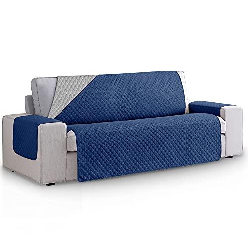 Funda Cubre Sofa Acolchado Reversible Bicolor. Fundas para Sofa 3 plazas Rombos. Cubre Sofas de Salon Antimanchas Ajustables. Color Marino - Gris. Funda de Sofa 3 plazas (160 cm)