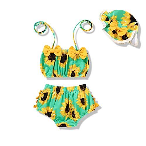 Tiny Cutey Infant Baby Girl Bikini Swimsuit Sunflower 2 Piece Bathing Suit Halter Top Bikini Bottoms Swimming Suit (Blue-Sunflower, 3-6M)