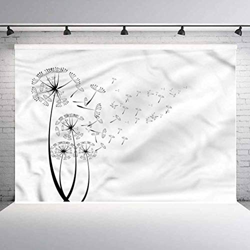 8x8FT Vinyl Photography Backdrop,Dandelion,Seed Blown in Wind Background Newborn Birthday Party Banner Photo Shoot Booth