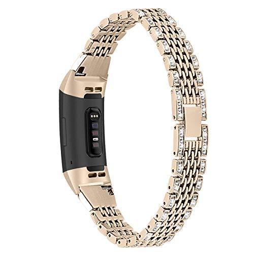 Correas Compatible Con Fitbit Charge 3 / Charge 4, Correas Mujer Joyas Con Diamantes De Imitación Banda Bling Glitter Pulsera De Metal Brazalete De Repuesto Para Charge 3 / Charge 4,Vintage gold