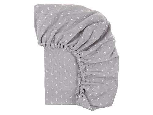 KraftKids Sábana bajera de muselina gris con ancla de algodón 100 % en tamaño 120 x 60 cm, funda de colchón hecha a mano fabricada en la UE