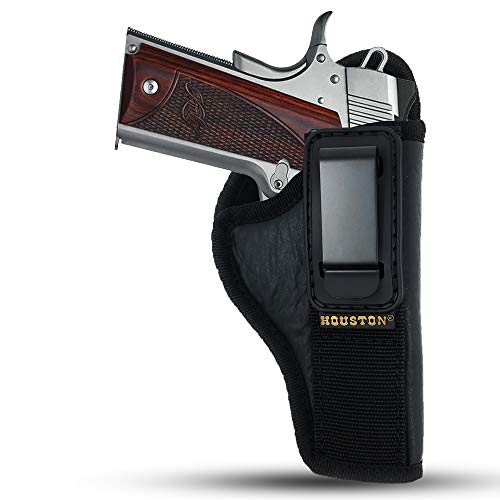 IWB TUCKABLE Gun Holster by Houston - ECO Leather Concealed Carry Soft Material | Suede Interior for Maximum Protection | FITS 1911 5'& 4', Browning 9 mm (Right)