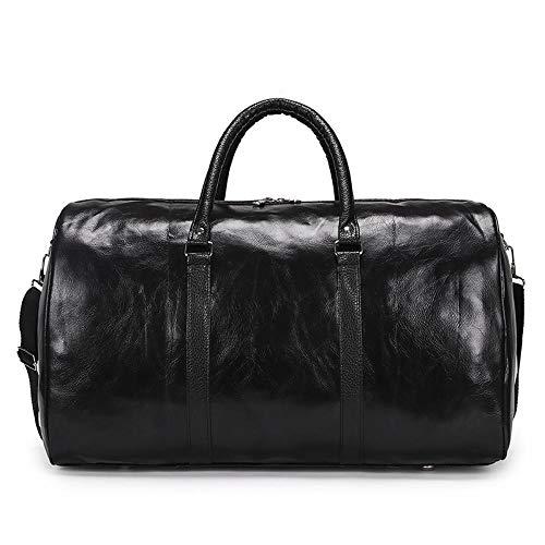 Fslt Soft PU Leather Travel Bag Men Duffle Bags Women Large Capacity Portable Weekend Luggage Carry On Package Handbag Tote XA138M-Black