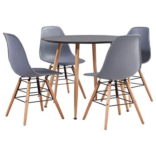 vidaXL Essgruppe 5-TLG. Esszimmergruppe Esszimmergarnitur Tischset Sitzgruppe Küchentisch Esstisch Esszimmertisch mit 4 Stühlen Kunststoff Grau