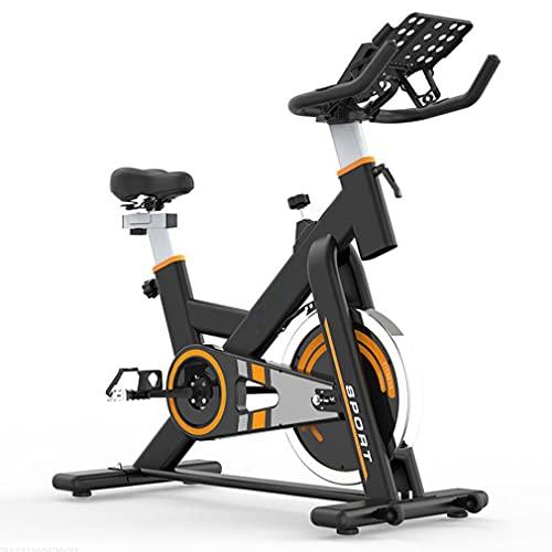 CGBF-Bicicleta Estacionaria Interior de Entrenamiento Cardiovascular para El Hogar,Accionado por Cinturón Silencioso, Soporte para Teléfono, Sensores de Frecuencia Cardíaca, Asiento Ajustable