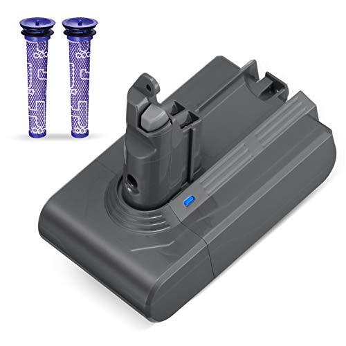 Powerextra 3000mAh Batterie Remplacement Pour V6 21.6V Li-ion Amélioré - Animal Motorhead Absolute Slim SV03 SV04 SV05 SV06 SV07 SV09 DC58 DC59 DC61 DC62 DC72 DC74 avec 2 filtres