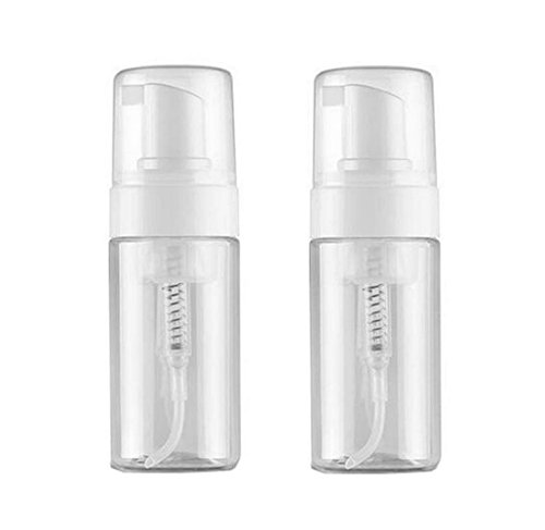 2PCS 100ML/3.4Oz Refillable Empty Plastic Foam Foamer Dispenser Pump Bottles Cosmetics Lotion Makeup Shampoo Facial Cleanser Liquid Soap Dish Foaming Holder Container Jar Pots(Transparent)