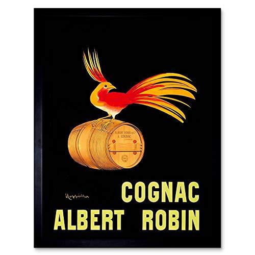 Wee Blue Coo Advert Drink Alcohol Albert Robin Cognac Brandy Bird Frankrijk Art Print Ingelijste Poster Muurdecoratie 12X16 Inch