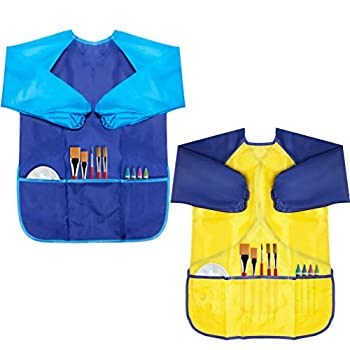 CUBACO Kids Painting Apron 2 Packs Waterproof Art Smocks for Child 3-8 Years Children Artist Apron with Long Sleeve and 3 Pockets