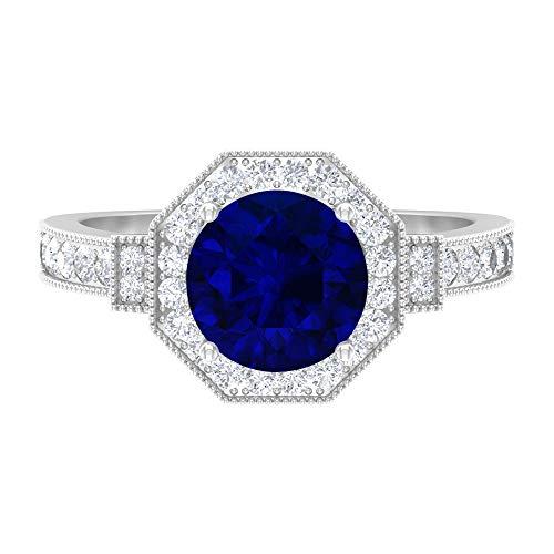 Antique Hexagon Wedding Ring, 2.7 CT D-VSSI Moissanite, 8 MM Blue Sapphire Ring, Milgrain Engagement Ring, Solitaire Gemstone Ring, Anniversary Gift, 14K White Gold, Blue Sapphire, Size:UK Q1/2