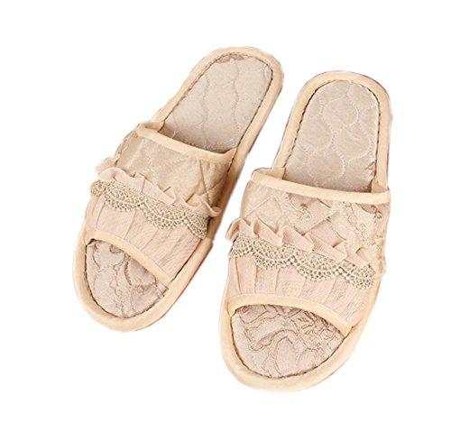 Marrón claro Macrame de encaje de Semi-cobertura de tela de moda de la casa zapatillas
