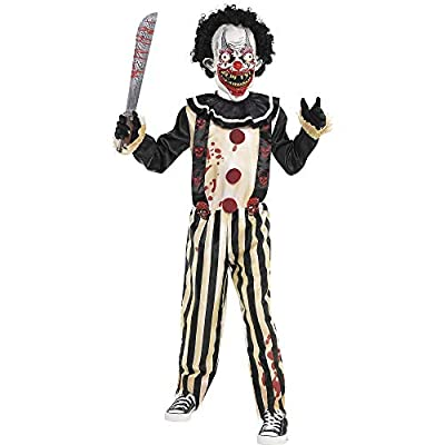 Suit Yourself Slasher Clown Costume for Boys, Size Small, Includes a Creepy Jumpsuit, a Mask with Hair, and a Collar by TradeMart Inc.