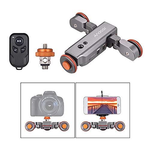 Andoer Cámara deslizante motorizada L4 pro con control remoto, mini estabilizador deslizante de video recargable de 3 velocidades para Canon, Nikon, Sony y teléfono inteligente Gris