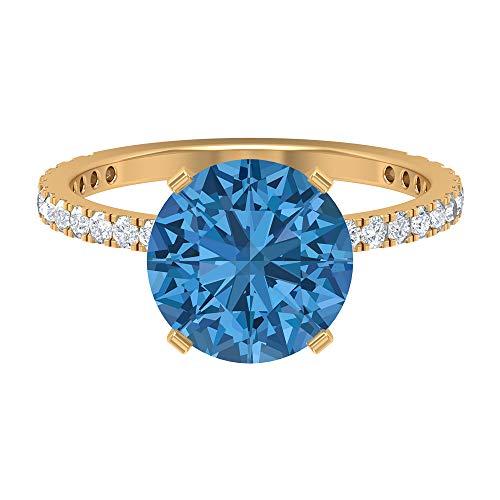 Anillo de zafiro azul ártico creado en laboratorio, 10 mm, anillo de oro Moissanita D-VSSI, anillo solitario con piedras laterales (calidad AAAA), oro de 10 quilates blanco
