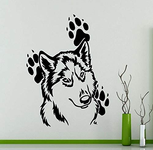 ZJfong Patrón de cabeza de lobo con huellas Vinilo Tatuajes de pared Pegatinas Animales domésticos Impermeable Arte Papel pintado Murales 45x60cm