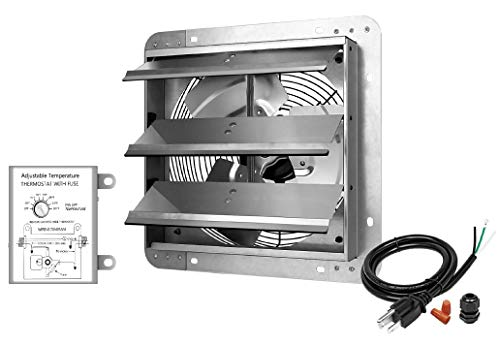 12 Inch Shutter Exhaust Fan Aluminum High Speed 1620RPM, 940 CFM, Silver, with Adjustable Programmable Thermostat