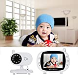 Volwco Smart Digital Wireless Audio Video Baby Monitor Camera with 3.5' Color LCD Display, Two-Way Talk Back Audio, Infrared Night Vision, Temperature Sensor, Lullabies, Long Range (3.5 inch- White)