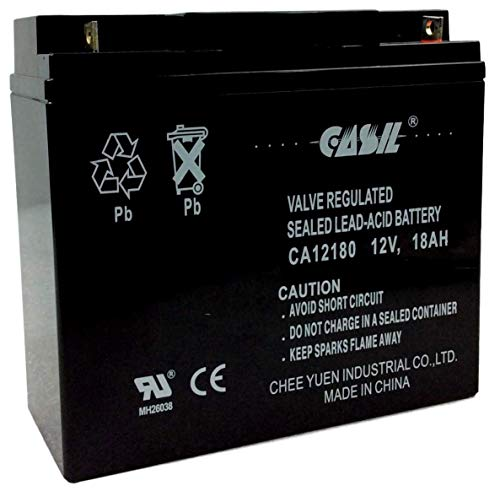 12v 18ah AGM Rechargeable Deep Cycle Replacement Battery for CB19-12, FM12180 6fm18, by Casil