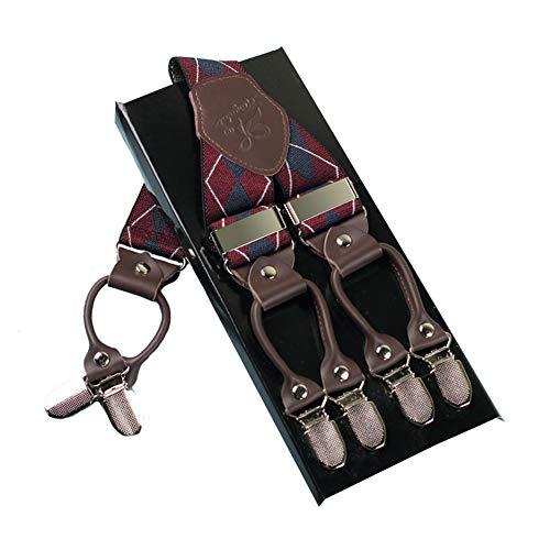 Mann Hosenträger Mode Einstellbare und Hohe Qualität KANGDAI 6 Clips mit Y Zurück Durable Breite Elastische Straps Hosenträger für Hosen Hosenträger (dunkelrote Raute)