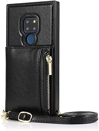 SLDiann Case for Huawei Mate 20, Zipper Wallet Case with Credit Card Holder/Crossbody Long Lanyard, Shockproof Leather TPU Case Cover for Huawei Mate 20 (Color : Black)