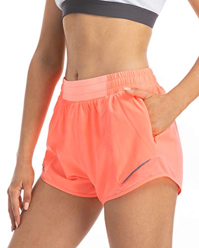 FETY Women's Quick-Dry Athletic Workout Sports Running Double Layer Shorts Fluorescent Pink