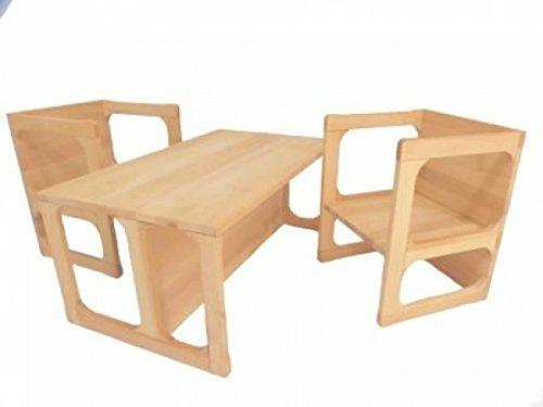 Holzspielzeug-Peitz Kinder-Wendemöbel-Set 8038 - Kindergarten-Möbel Massivholz - Tisch/Stuhl/Bank
