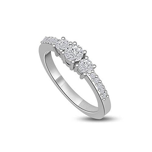 0.55ct G/SI1 Diamante Trilogy Anello da Donna con Rotonda Brillante diamanti in 18kt Oro bianco