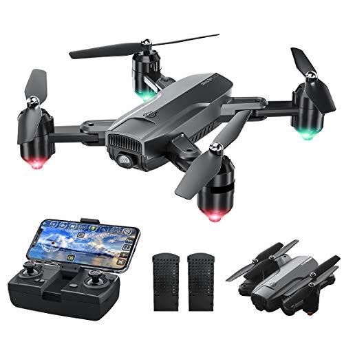Dragon Touch Drone Pieghevole WiFi, WiFi FPV Drone con Telecamera HD 1080P, RC Quadricottero con sensore di gravità, modalità Senza Testa, decollo   atterraggio con Una Chiave
